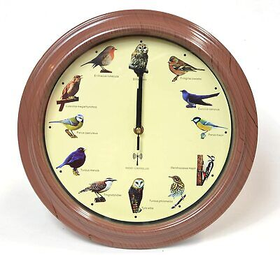 British Bird Song Wall Clock with Sounds - Radio Controlled Time Setting (32cm)