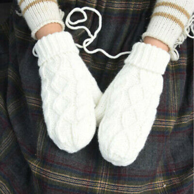 Lady Outdoor Warmer Cable Knit Woolen Full Finger Gloves String Strap Mittens C5