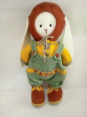 Toy Hand Knitted - Bunny in European Village Clothes removable40 cm high