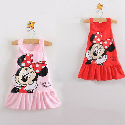 Kids Baby Girls Skirt Dress Cute Minnie Mouse Toddler Summer Clothes Age 9M-5Y