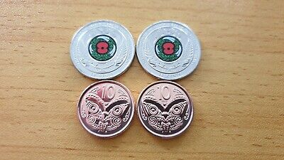 NEW ZEALAND 50c 2018 Poppy x 2 & 10c coin 2015 x 2 - 4 UNC coins