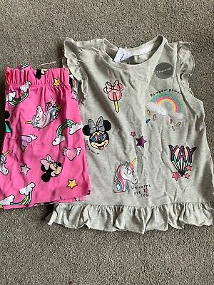 George Disney Girls 4-5 Years Minnie Mouse Unicorn 2 Piece T Shirt & Shorts Set
