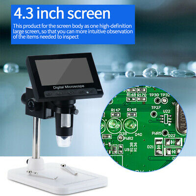 """UK 4.3"""" LCD Monitor 1000X Electronic Microscope Magnifier For Phone PCB Repair"""