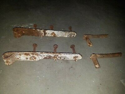 """Antique Hand Forged Iron Barn Door Strap Hinges 10"""" Long Pair Set Pins Vintage"""