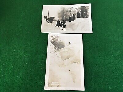 Sunhill Bentworth Near Alton 2 R/P Postcards Of The Snowstorm Of 1927