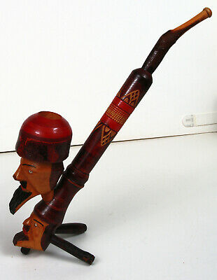 Vintage Italian Hand Carved Wood Smoking Pipe Double Head Folk Art unused