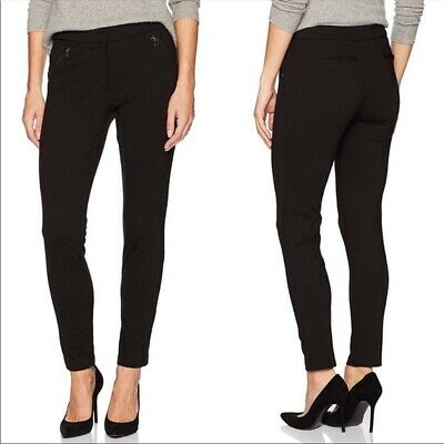 Adrianna Papell Womens Black stretch ponte Slim Ankle zip Skinny Pants Size 6