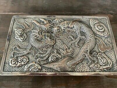 Vintage 900 Chinese Silver Etched Scroll Dragon Case Box 0320