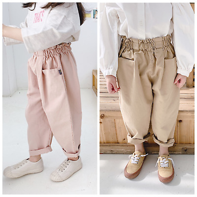 Kids Summer Pants Girls Cotton High Waist Pleated Front Pocket Harlan Trousers