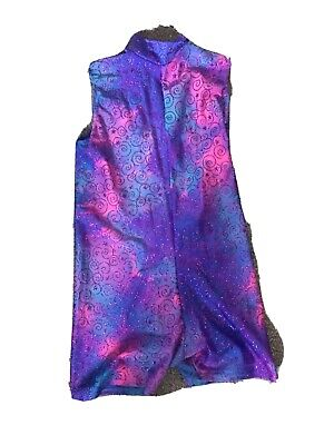 Girls Mordern Dance Costume All In One Outfit Short Legged Purple Age 10