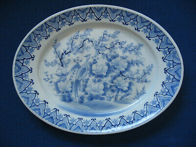 Large Antique Chinese porcelain blue & white platter marked