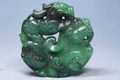Exquisite Decorative Handwork Jade Carved Two Lions Auspicious Exorcism Pendant