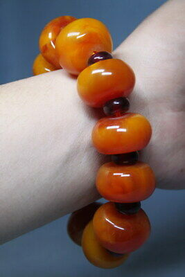 Decorative Handwork Agate Polishing Yellow Beads Rare Auspicious Hand Catenary