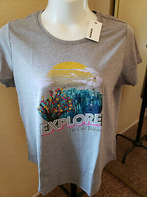 """Women's NWT SONOMA Goods For Life Size XL Gray """"OUTDOORS"""" Scoop Neck"""