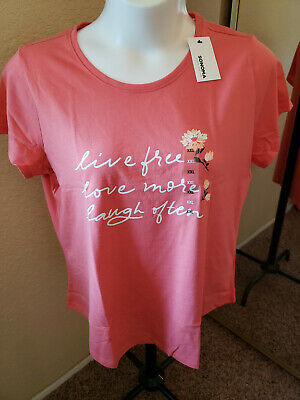 """Women's NWT SONOMA Goods For Life Size XXL Coral """"Live Free"""" Scoop Neck"""