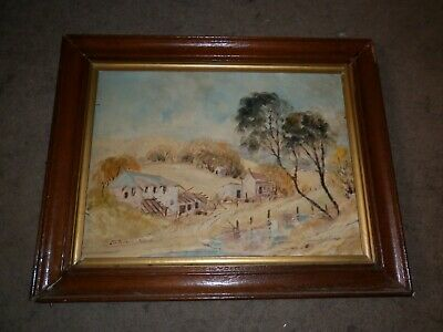 Vintage Painting Country Scene In Old Vintage Frame