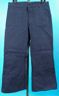 Deadstock Vintage 1970'S Navy Sailor Military Denim Workwear Pants 34 Waist