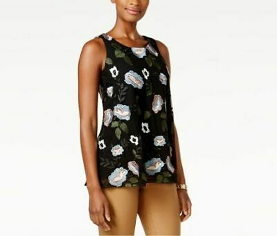 Charter Club Womens 47315 Floral Garden Embroidered Blouse Top Mesh Black Sz L