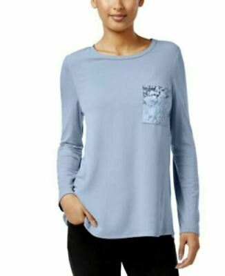 NY Collection Womens Blue Velvet Pocket Tee Top Blouse Shirt Size M NWT