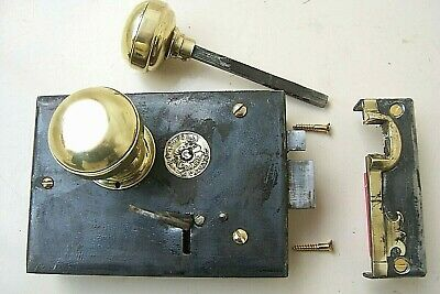 H & T Vaughan Carpenter Type Rim Lock With Keeper & Key- Complete & Working