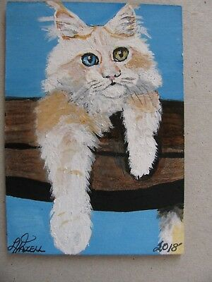 "A677          Original Acrylic Aceo Painting By Ljh  ""Griffin""  Cat  Kitten"