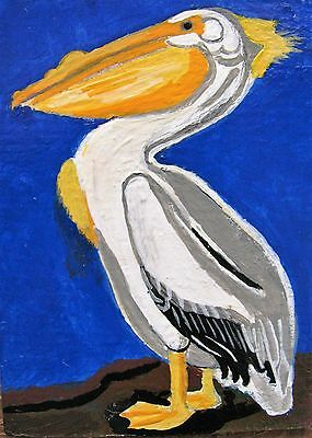 "A425          Original Acrylic Aceo Painting By Ljh  ""Pelican"""