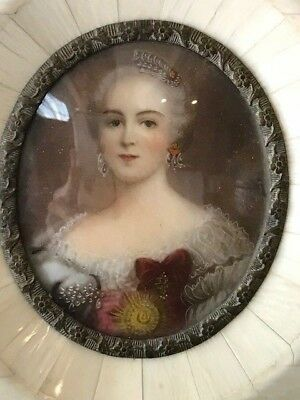 Antique Miniature Portrait Painting of Catherine the Great of Russia - Signed