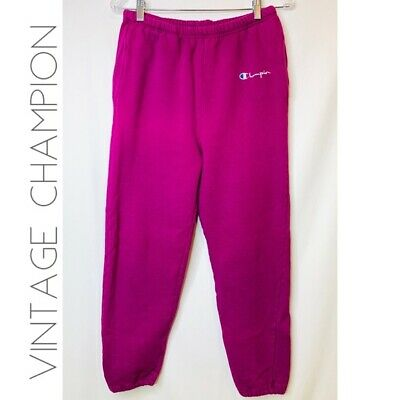 Vintage Champion Womens M Solid Magenta Pink Activewear Sweat Pants Made In USA