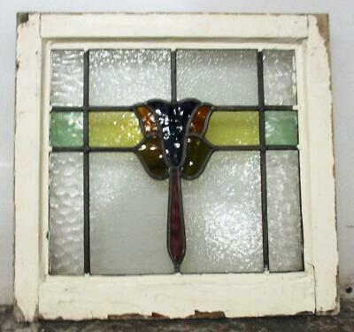 """OLD ENGLISH LEADED STAINED GLASS WINDOW Pretty Tulip Design 20"""" x 18.75"""""""