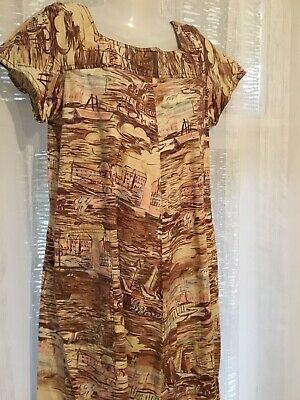 Peer Gynt 50s Muted Sailing Seascape Design A Line Vintage house dress Sz 14