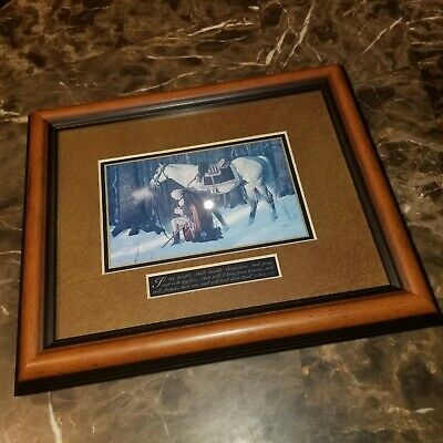 "THE PRAYER AT VALLEY FORGE Arnold Friberg Walnut Framed Print w/ COA 4"" x 6"""