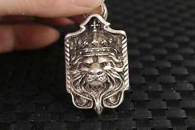 Rare Chinese old Tibet silver hand carved lion king statue pendant