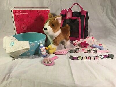 American Girl Doll Corgi Puppy Dog (Retired) w/ Pet Bath Set + Extra Accessories