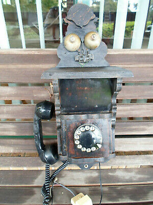 Antique collectable wall mounted wooden Telephone 1970s