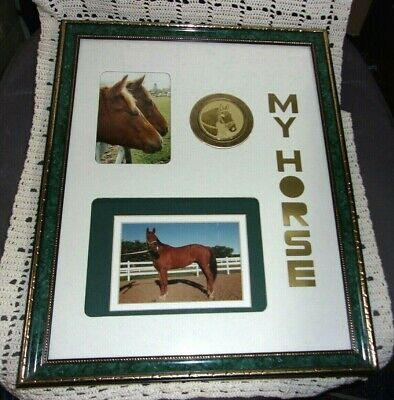 """"""" My Horse """" Personalized Frame For Two Pictures Plus Horse Medallion"""