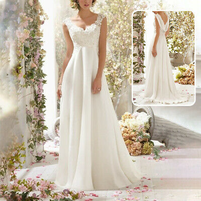 New Women Lace Backless Wedding Dress Cocktail Formal Ball Gown Train Long Dress