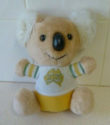 """Koala """"I Come From The Land Downunder"""" Vintage Plush Toy Bear- Little Aussie"""