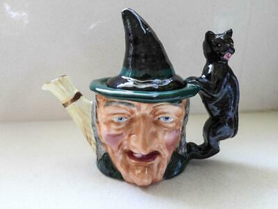 Porcelain Miniature Teapot in the form of a Witch with a Black Cat Handle - UK