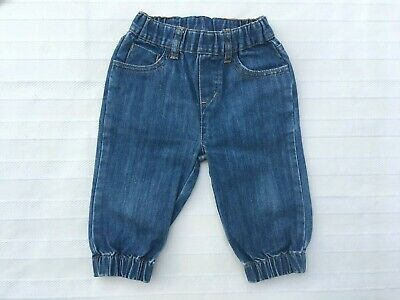 Seed Baby Boys, Size 6/12 Months Elastic Ankles Denim Jeans Pants, Vg Condition.
