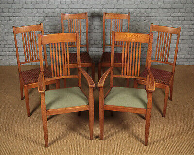 Antique Set of Six Pale Oak Dining Chairs c.1910.