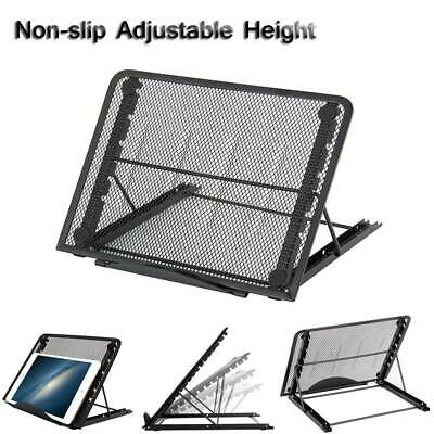 Laptop Pad Stand Holder Riser Support Mesh Folding Table Adjustable Tray Black