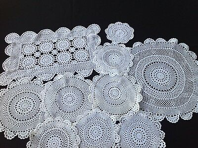 Hand Crocheted Doilies _ 10 Different Types, Ranging Sizes and Shapes