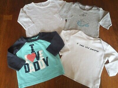 4 X Baby Boys Size 000 Long Sleeve Tops