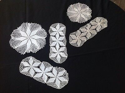 Tatted Crochet Doileys, 2 Long And 2 Round - Beautiful
