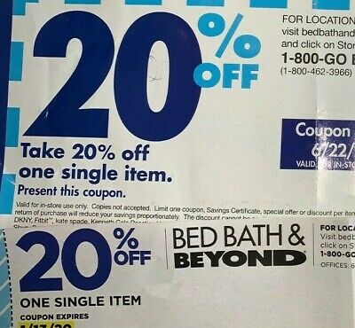 Bed Bath Beyond Coupon 20% OFF 1 Item - Lot of 50 Coupons!