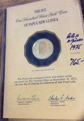 1975 100 Kina Gold Proof Coin Papua New Guinea