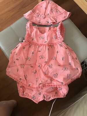 George At Asda Baby Girls Outfit Dress And Hat Size First Size