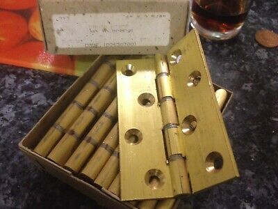 """Solid Brass 4"""" Best quality Butt Hinges X 2 heavy duty (free post) OLD STOCK"""