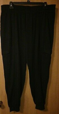 AnyBody Loungewear Tall Cozy Knit Cargo Jogger Pants/BLACK/TALL-X LARGE/