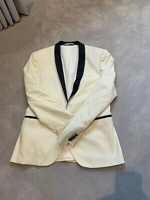 Men's Asos Tuxedo Jacket Off White/ivory with Black Detail 38'
